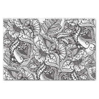 Estampado de flores dibujado mano blanco y negro papel de seda