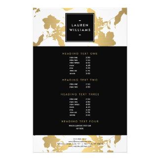 Estampado de flores elegante del oro en el blanco folleto 14 x 21,6 cm