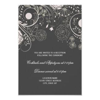Estampado de flores gris/blanco - invitación de la