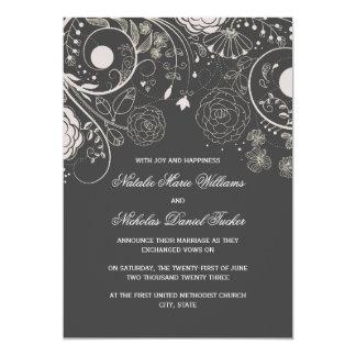Estampado de flores gris/blanco - invitación del