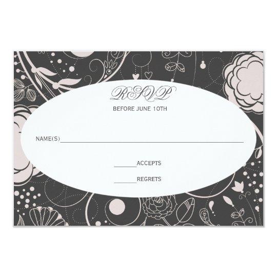 Estampado de flores gris/blanco - RSVP Invitación 8,9 X 12,7 Cm