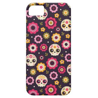 Estampado de flores mexicano del cráneo del azúcar funda para iPhone SE/5/5s