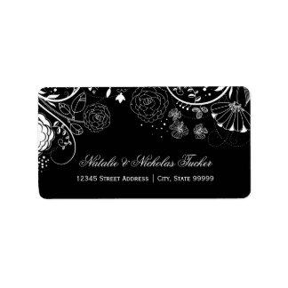 Estampado de flores negro/blanco - etiquetas de