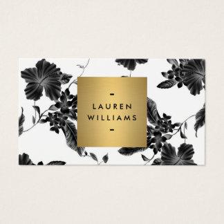 Estampado de flores negro elegante 4 con el tarjeta de visita