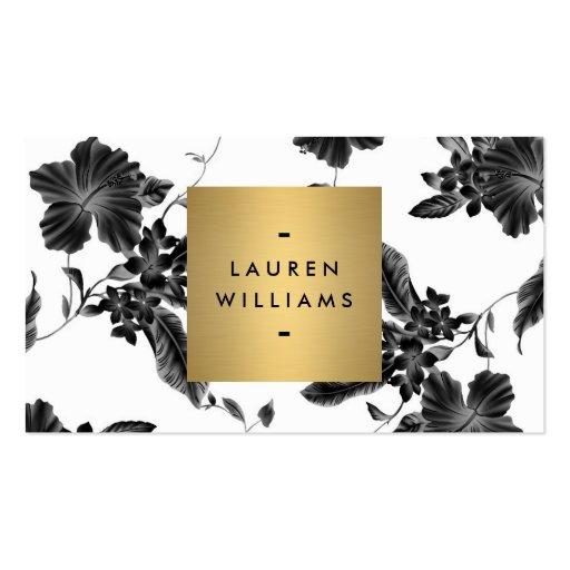 Estampado de flores negro elegante 4 con el tarjetas personales