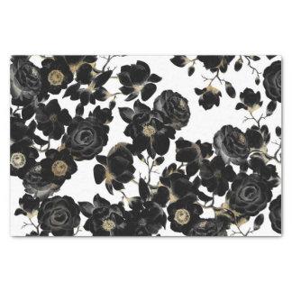 Estampado de flores negro elegante moderno del papel de seda