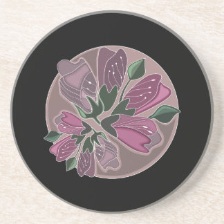 Estampado de flores negro y rosado elegante posavasos