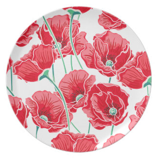Estampado de flores rojo del campo de la amapola plato