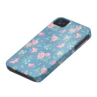 Estampado de flores romántico colorido del vintage iPhone 4 cárcasas