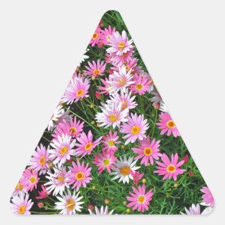 Estampado de flores rosado bonito de las pegatina triangular