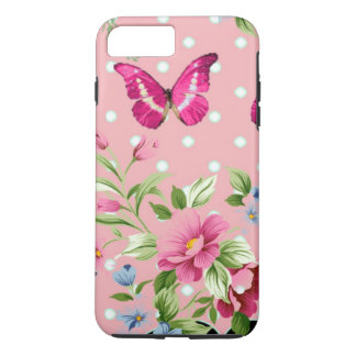 estampado de flores rosado delicado del vintage funda iPhone 7 plus