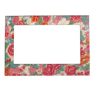 Estampado de flores rosado marcos magneticos de fotos
