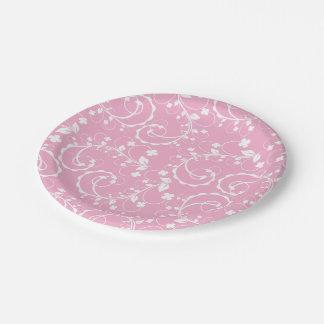 estampado de flores rosado plato de papel