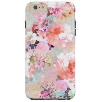 Estampado de flores rosado romántico de la moda de funda resistente iPhone 6 plus