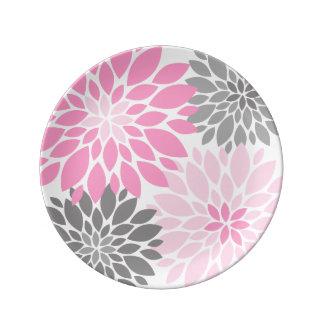 Estampado de flores rosado y gris de los plato de porcelana