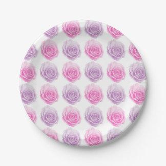Estampado de flores rosado y púrpura de los rosas plato de papel