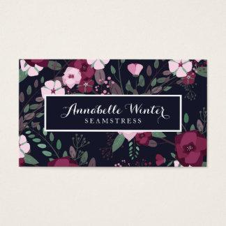 Estampado de flores rosado y violeta de los rosas tarjeta de negocios