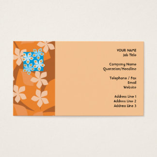 Estampado de flores tropical. Azul y naranja Tarjeta De Negocios