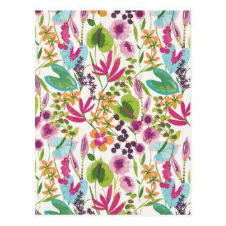 Estampado de flores tropical del vintage postal