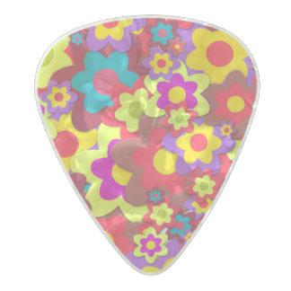 Estampado de flores vibrante púa de guitarra celuloide nacarado