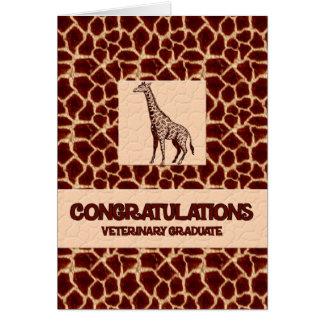 Estampado de girafa del graduado del veterinario tarjeta de felicitación