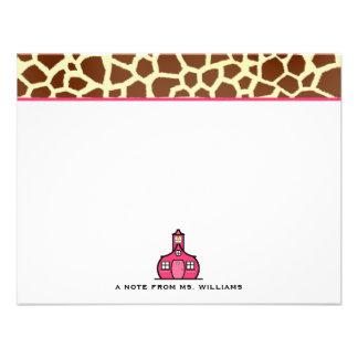 Estampado de girafa Notecards plano para los profe Invitacion Personal