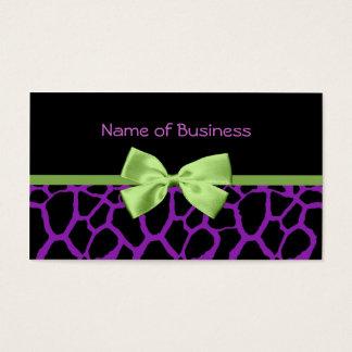 Estampado de girafa púrpura femenino con la cinta tarjeta de visita