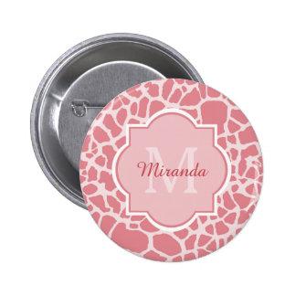 Estampado de girafa rosado elegante con el chapa redonda 5 cm