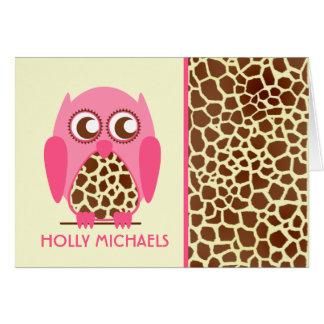 Estampado de girafa y búho rosado Notecard Tarjeta Pequeña