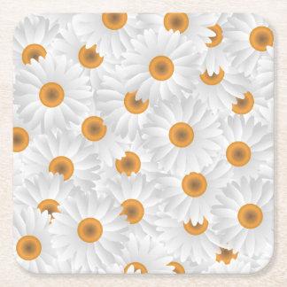 Estampado de plores blanco de la manzanilla posavasos cuadrado de papel