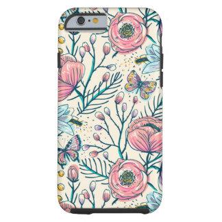 Estampado de plores femenino de la rosaleda del funda resistente iPhone 6