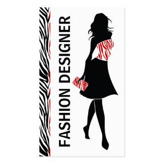 Estampado de zebra blanco rojo del negro del chica plantilla de tarjeta de visita