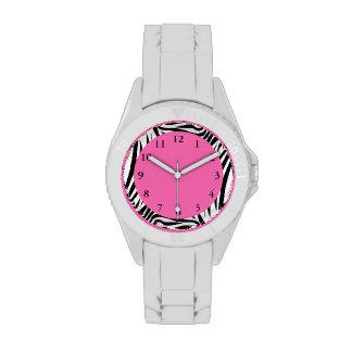Estampado de zebra blanco y negro relojes