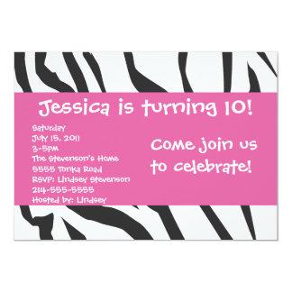Estampado de zebra con la invitación rosada del invitación 12,7 x 17,8 cm