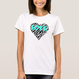 Estampado de zebra del amor de la gimnasia de camiseta