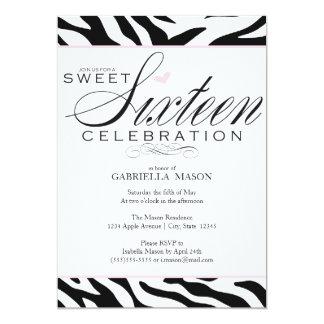 Estampado de zebra del dulce dieciséis invitación 12,7 x 17,8 cm