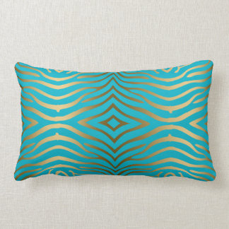 Estampado de zebra del oro en azules turquesas cojín lumbar