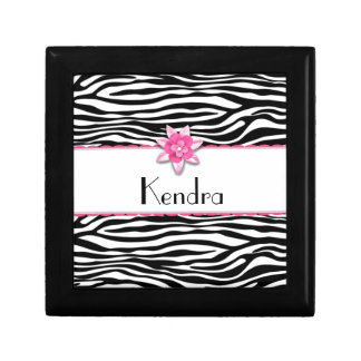 Estampado de zebra floral rosado caja de joyas