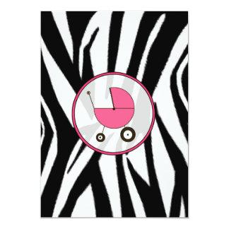 Estampado de zebra negro e invitación rosada de la