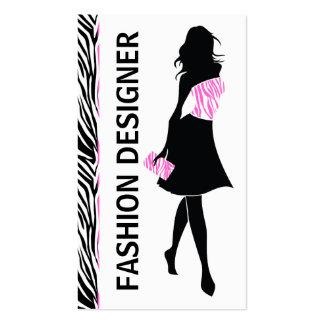 Estampado de zebra rosado blanco del negro del tarjetas de visita