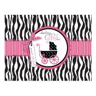 Estampado de zebra y carro de bebé postal