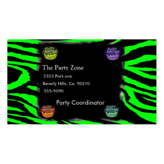 Estampado de zebra y tortas de cumpleaños plantillas de tarjeta de negocio