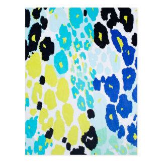 Estampado leopardo azul de la cal de la aguamarina postal