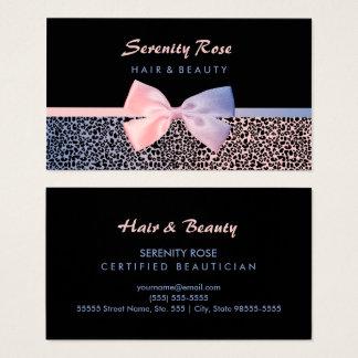 Estampado leopardo azul del rosa elegante del tarjeta de visita