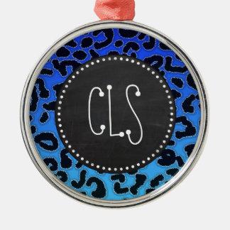 Estampado leopardo azul eléctrico; Mirada de la pi Ornamentos De Navidad