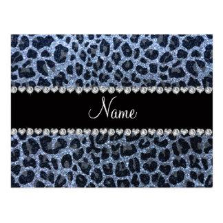 Estampado leopardo azul en colores pastel conocido tarjetas postales
