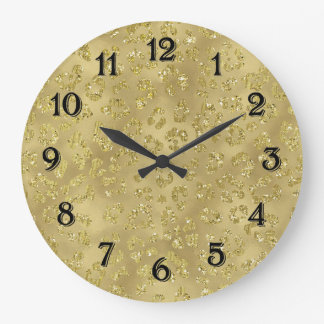 Estampado leopardo del encanto del oro reloj redondo grande