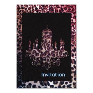 Estampado leopardo fresco del safari de la lámpara invitación 12,7 x 17,8 cm
