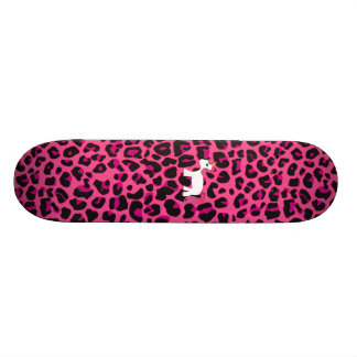 Estampado leopardo lindo del rosa del unicornio monopatín 18,7 cm