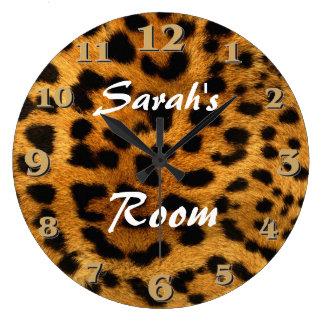 Estampado leopardo reloj redondo grande